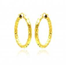 **Closeout** Wholesale Sterling Silver 925 Gold Plated Oval Hoop Earrings - ITE00023GP