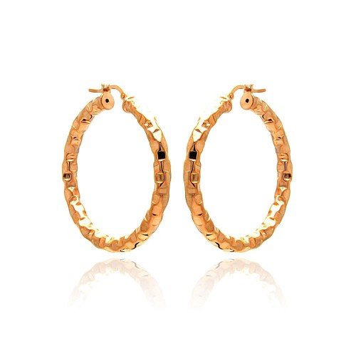 -Closeout- Wholesale Sterling Silver 925 Rose Gold Plated Oval Hoop Earrings - ITE00023RGP