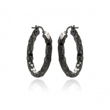 **Closeout** Wholesale Sterling Silver 925 Black Rhodium Plated Oval Hoop Earrings - ITE00024BLK