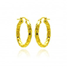 **Closeout** Wholesale Sterling Silver 925 Gold Plated Oval Hoop Earrings - ITE00024GP