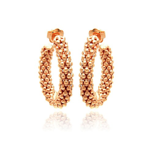 -Closeout- Wholesale Sterling Silver 925 Rose Gold Plated Italian Hoop Earrings - ITE00029RGP