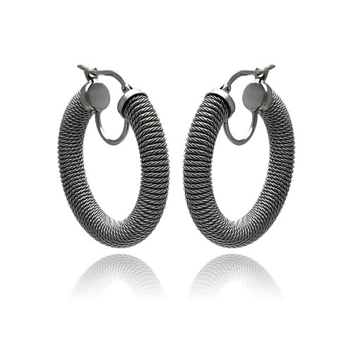 **Closeout** Wholesale Sterling Silver 925 Black Rhodium Plated Italian Hoop Earrings - ITE00030BLK