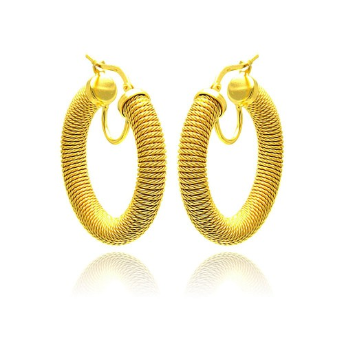 -Closeout- Wholesale Sterling Silver 925 Gold Plated Italian Hoop Earrings - ITE00030GP