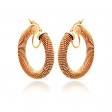 **Closeout** Wholesale Sterling Silver 925 Rose Gold Plated Italian Hoop Earrings - ITE00030RGP