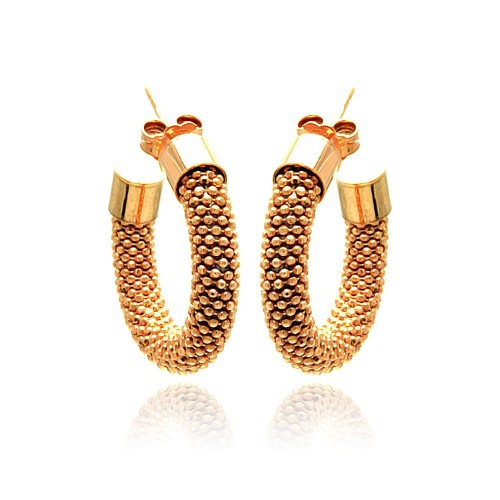 -Closeout- Wholesale Sterling Silver 925 Rose Gold Plated Italian Hoop Earrings - ITE00031RGP