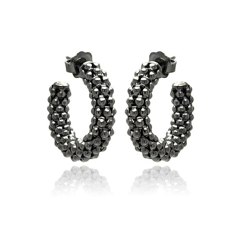 -Closeout- Wholesale Sterling Silver 925 Black Rhodium Plated Italian Crescent Stud Earrings - ITE00032BLK