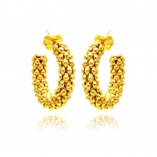 **Closeout** Sterling Silver Gold Plated Italian Crescent Stud Earring - ITE00032GP