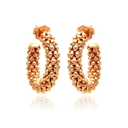 -Closeout- Wholesale Sterling Silver 925 Rose Gold Plated Italian Crescent Stud Earrings - ITE00032RGP