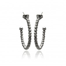**Closeout** Wholesale Sterling Silver 925 Black Rhodium Plated Italian Fine Bead Hoop Earrings - ITE00034BLK