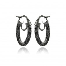 **Closeout** Wholesale Sterling Silver 925 Black Rhodium Plated Italian Hoop Earrings - ITE00035BLK