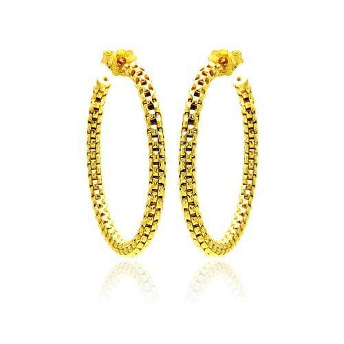 -Closeout- Wholesale Sterling Silver 925 Gold Plated Italian Weave Hoop Earrings - ITE00036GP