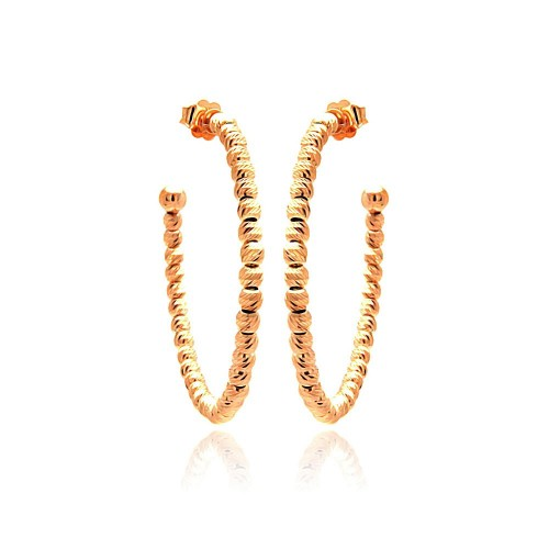 -Closeout- Wholesale Sterling Silver 925 Rose Gold Plated Italian Hoop Earrings - ITE00037RGP