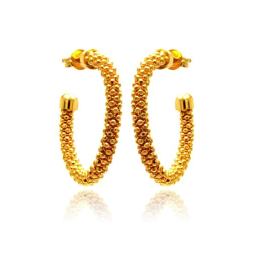 **Closeout** Wholesale Sterling Silver 925 Gold Plated Crescent Hoop Earrings - ITE00038GP
