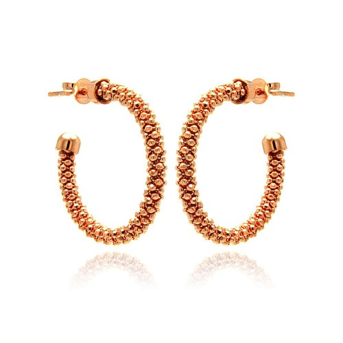 -Closeout- Wholesale Sterling Silver 925 Rose Gold Plated Crescent Hoop Earrings - ITE00038RGP