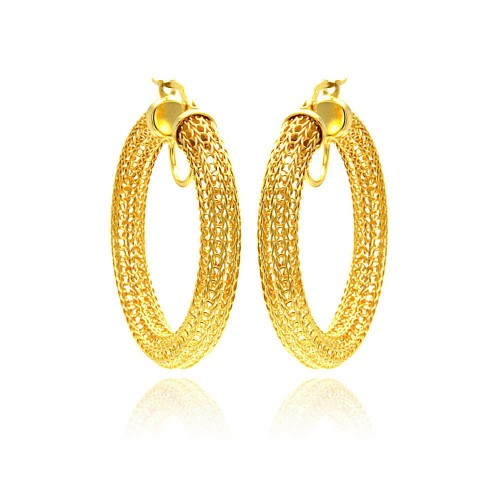 -Closeout- Wholesale Sterling Silver 925 Gold Plated Mesh Hoop Earrings - ITE00039GP