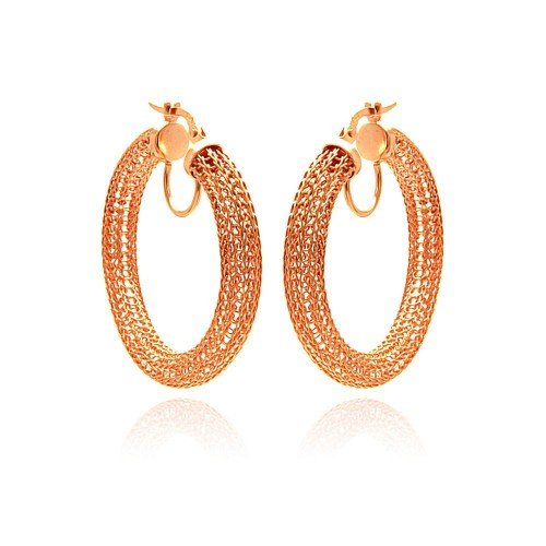 -Closeout- Wholesale Sterling Silver 925 Rose Gold Plated Mesh Hoop Earrings - ITE00039RGP