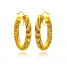 **Closeout** Wholesale Sterling Silver 925 Gold Plated Hoop Earrings - ITE00041GP