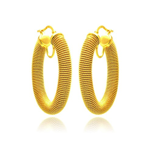 -Closeout- Wholesale Sterling Silver 925 Gold Plated Hoop Earrings - ITE00041GP