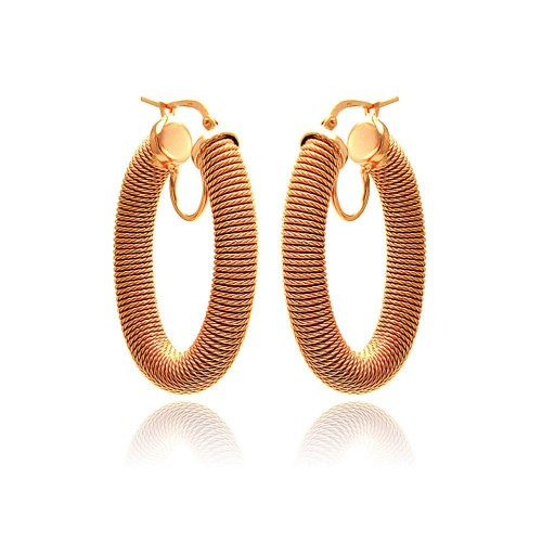 -Closeout- Wholesale Sterling Silver 925 Rose Gold Plated Hoop Earrings - ITE00041RGP