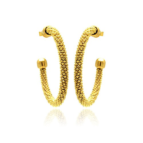 -Closeout- Wholesale Sterling Silver 925 Gold Plated Hoop Earrings - ITE00042GP