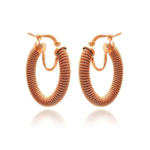 -Closeout- Wholesale Sterling Silver 925 Rose Gold Plated Hoop Earrings - ITE00043RGP