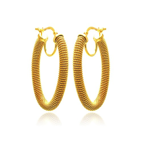 **Closeout** Wholesale Sterling Silver 925 Gold Plated Hoop Earrings - ITE00044GP