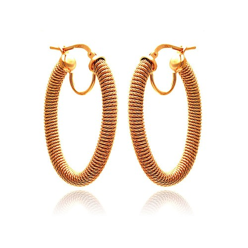 -Closeout- Wholesale Sterling Silver 925 Rose Gold Plated Hoop Earrings - ITE00044RGP