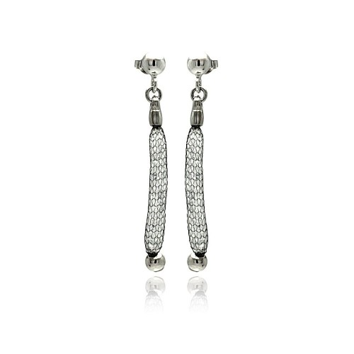 -Closeout- Wholesale Sterling Silver 925 Rhodium Plated Dangling Mesh Stud Earrings - ITE00046BLK