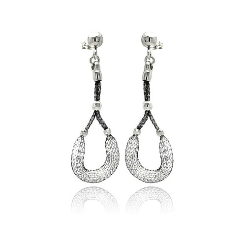 -Closeout- Wholesale Sterling Silver 925 Black Rhodium Plated Dangling Horse Shoe Design Mesh Stud Earrings - ITE00050BLK