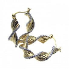 Wholesale Sterling Silver 925 Gold Rhodium Plated Twisted Ornament CZ Hoop Earrings - STE00641
