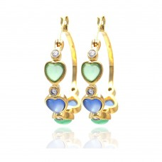 **Closeout** Wholesale Sterling Silver 925 Gold Rhodium Plated Round Heart Multicolor CZ Hoop Earrings - STE00707