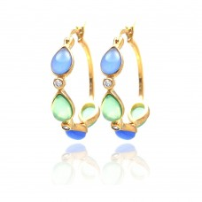 **Closeout** Wholesale Sterling Silver 925 Gold Rhodium Plated Round Teardrop Multicolor CZ Hoop Earrings - STE00708