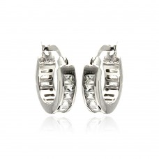 Wholesale Sterling Silver 925 Rhodium Plated Baguette Clear CZ Hoop Earrings - STE00722