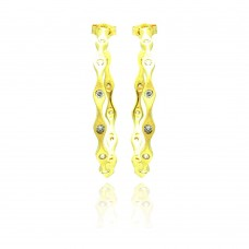 Wholesale Sterling Silver 925 Gold Rhodium Plated Round Clear CZ Hoop Earrings - STE00780