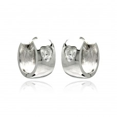 Wholesale Sterling Silver 925 Rhodium Plated Hear Clear CZ Huggie Earrings - STE00879