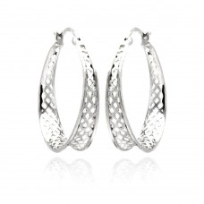 **Closeout** Wholesale Sterling Silver 925 Rhodium Plated CZ Hoop Earrings - STE00890