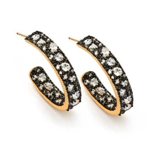 Wholesale Sterling Silver 925 Gold Plated Multiple Graduated Crescent Clear CZ Stud Earrings - BGE00364