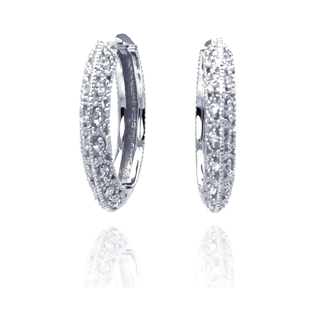 Wholesale Sterling Silver 925 Rhodium Plated Micro Pave Clear CZ Hoop Earrings - ACE00010