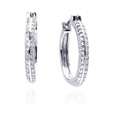 Sterling Silver Rhodium Plated Micro Pave Clear CZ Hoop Earring ace00013