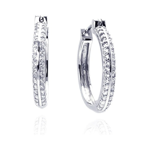 Wholesale Sterling Silver 925 Rhodium Plated Micro Pave Clear CZ Hoop Earrings - ACE00013