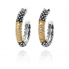 ***CLOSEOUT*** Wholesale Sterling Silver 925 Gold and Silver Rhodium Plated Clear CZ J Hook Stud Earrings - BGE00049