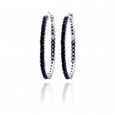 Wholesale Sterling Silver 925 Black and Silver Rhodium Plated CZ Dangling Earrings - BGE00074