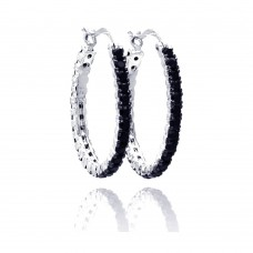 Wholesale Sterling Silver 925 Black and Silver Rhodium Plated CZ Hoop Earrings - BGE00075