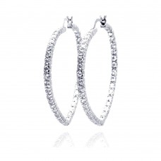 ***CLOSEOUT*** Wholesale Sterling Silver 925 Rhodium Plated Open Circle CZ Hoop Earrings - BGE00088