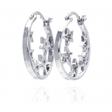 Wholesale Sterling Silver 925 Rhodium Plated CZ Hoop Star Earrings - STE00025