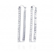 **Closeout** Wholesale Sterling Silver 925 Rhodium Plated CZ Rectangular Hoop Earrings - STE00032
