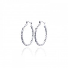 Wholesale Sterling Silver 925 Rhodium Plated CZ Hoop Earrings - STE00068