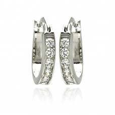Wholesale Sterling Silver 925 Rhodium Plated CZ Hoop Earrings - STE00076