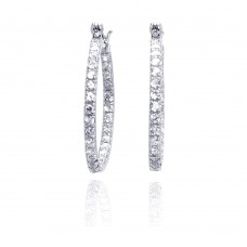 Wholesale Sterling Silver 925 Rhodium Plated CZ Hoop Earrings - STE00094