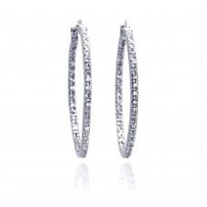 Wholesale Sterling Silver 925 Rhodium Plated CZ Hoop Earrings - STE00098